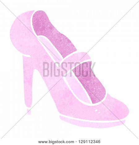 freehand retro cartoon high heeled shoe