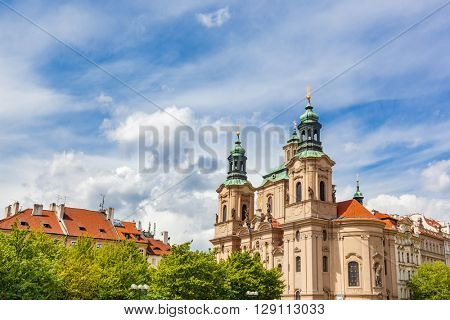 St. Nicholas Church in the Old Town of Prague, Czech Republic. Sunny day, blue sky