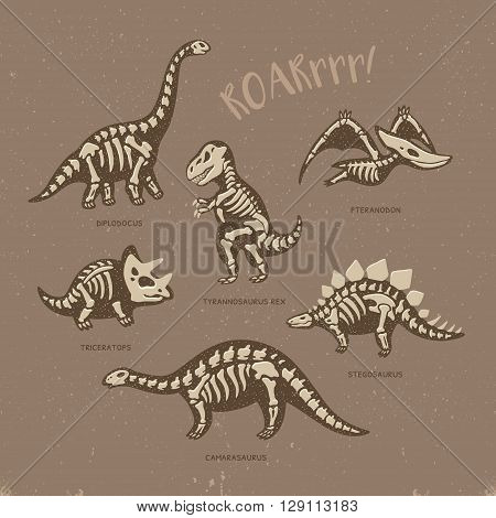Funny sketchy fossil dinosaurs print with text Roar. Cartoon fossil dinosaurs card. Vector illustration