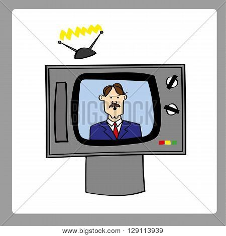 Retro style analog television set with a male news anchor providing updates and bulletins