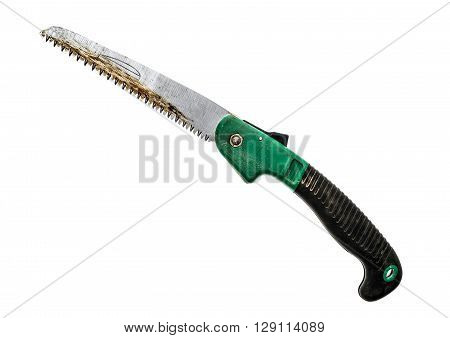 Folding Pocket Saw Isolated On A White Isolated On White