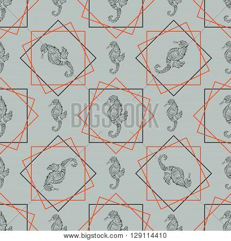 Sea horse vector illustration. Tiles with a maritime theme