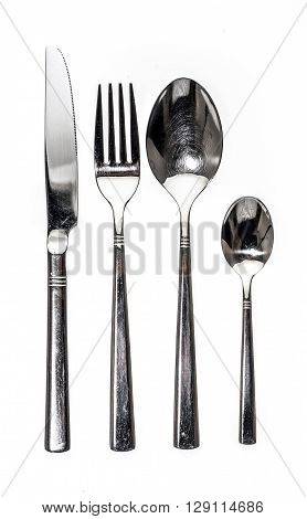 Cutlery Metal Set With Fork, Knife And Spoon - Kitchen Utensils.