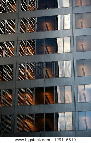 Modern office building background with reflection -
