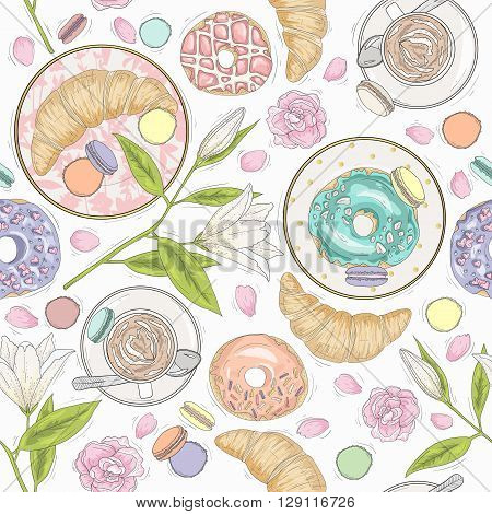 Seamless breakfast pattern with flowers pastries and coffee. Vector background with macaroons donuts croissants and coffee.