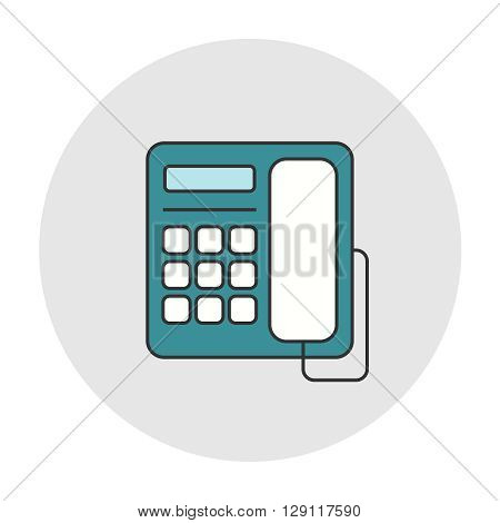 Office deskphone icon. Outline color flat style