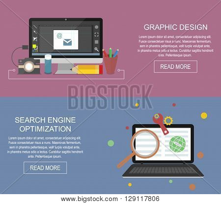 Graphic design and search engine optimization website banner. Vector flat illustration. SEO.