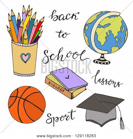 Hand drawn vector with school stationery doodle icons. Vector sketched doodle set. Back to school.