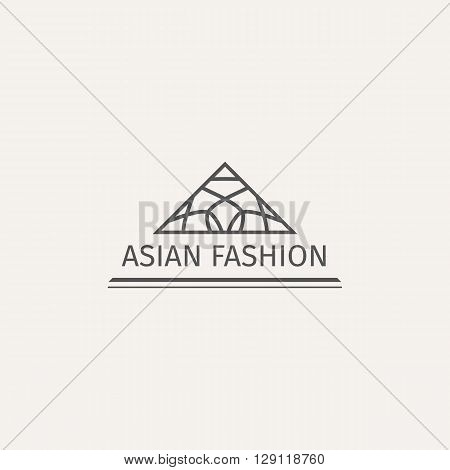 Asian fashion shop logo template. Vector ethnic ornamental design for clothing and accessories boutiques.