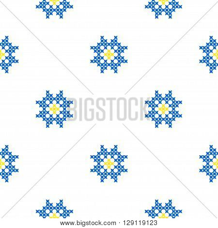 Seamless isolated texture with abstract blue embroidered flowers for tablecloth. Embroidery. Cross stitch.