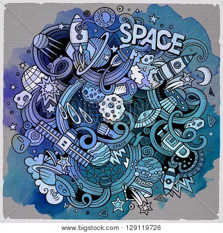 Cartoon hand-drawn doodles Space illustration. Watercolor detailed, with lots of objects vector background