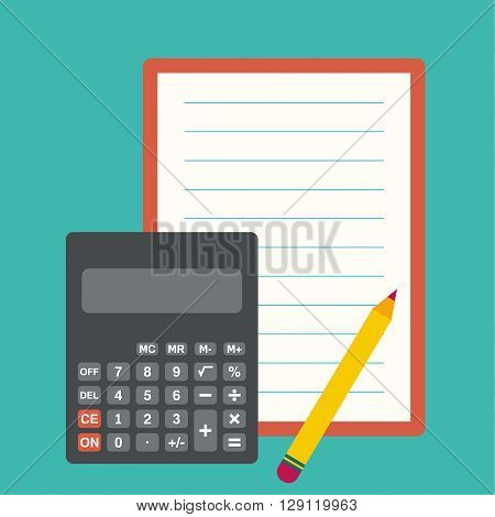 Calculator, sheets of paper and a pencil. The concept of counting and analysis, tax calculation, profit losses.
