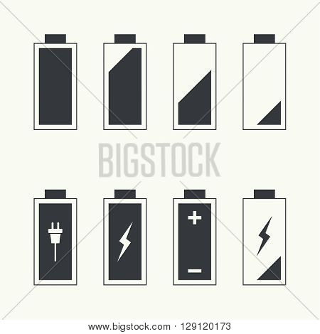 Icons battery charge indicator. Vector. For mobile and web applications