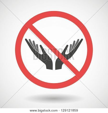 Forbidden Vector Signal With   Two Hands Offering