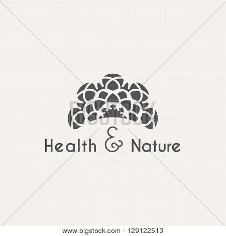 Asian health and nature logo template. Vector ethnic ornamental design for beauty salons, spa, massage, saunas, healthcare and medicine.