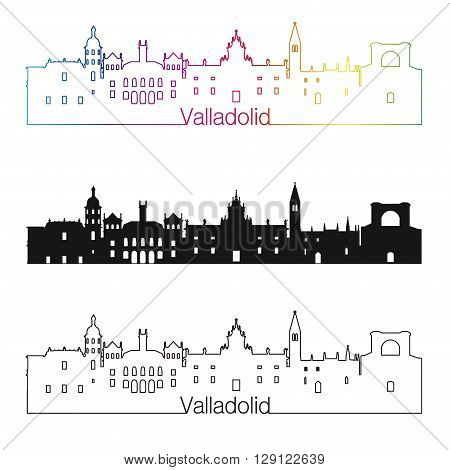 Valladolid skyline linear style with rainbow in editable vector file