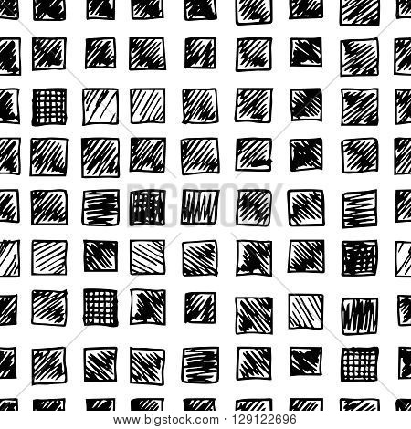 Hand drawn scribble, seamless pattern of doodle rectangles, isolated on white background. Vector texture illustration. Logo design elements. Abstract geometric backdrop.