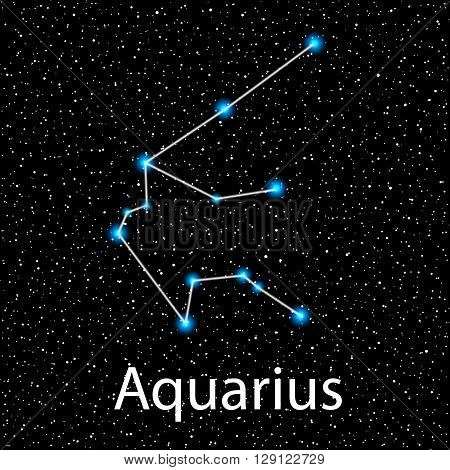 Vector Aquarius Zodiac sign  bright blue stars in cosmos. Constellation