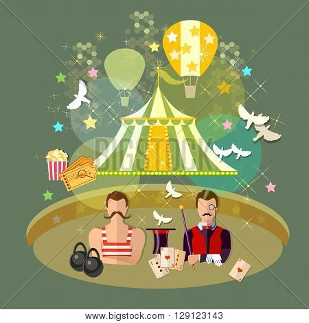 Circus performance circus show magician strongman magician magic tricks vector illustration
