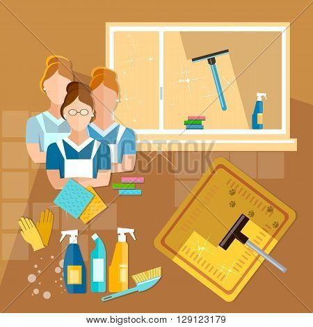 Cleaning service maid house cleaning cleaners team home cleaning vector illustration