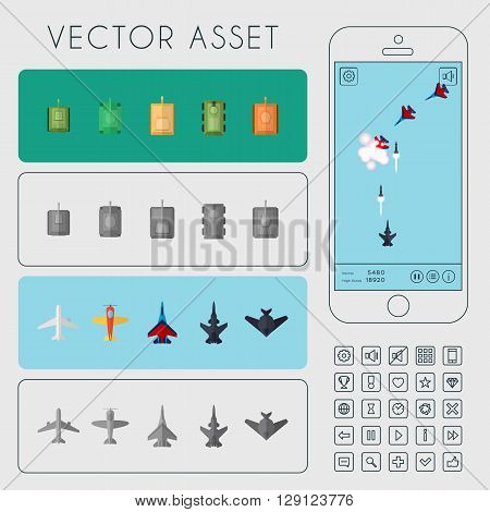 Vector asset for arcade game interface and icons. Aircrafts and tanks sprites