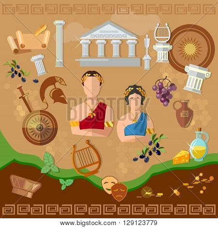 Ancient Greece Ancient Rome tradition and culture vector illustration