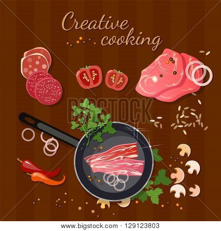 Fresh meat in a frying pan delicious pieces of meat food background vector illustration