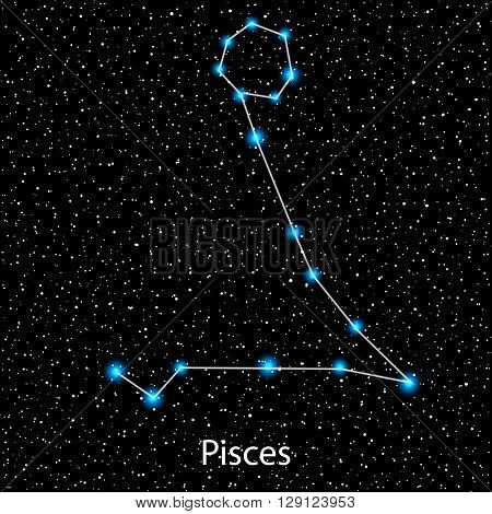 Vector Pisces Zodiac sign  bright blue stars in cosmos. Constellation