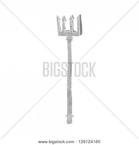 freehand retro cartoon devil fork