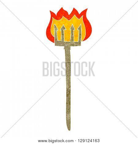 freehand retro cartoon flaming devil fork