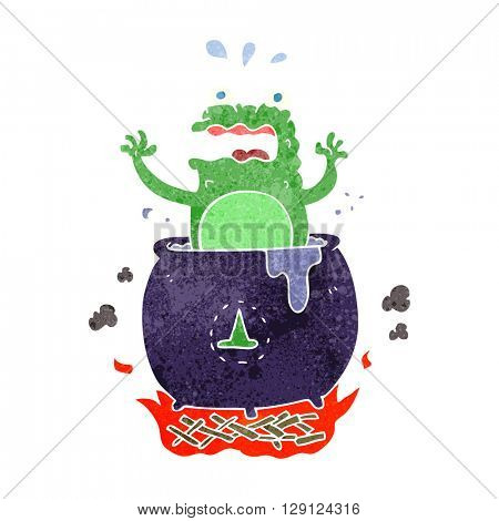 freehand retro cartoon funny halloween toad