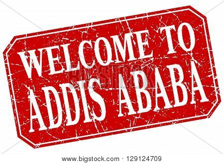 welcome to Addis Ababa red square grunge stamp