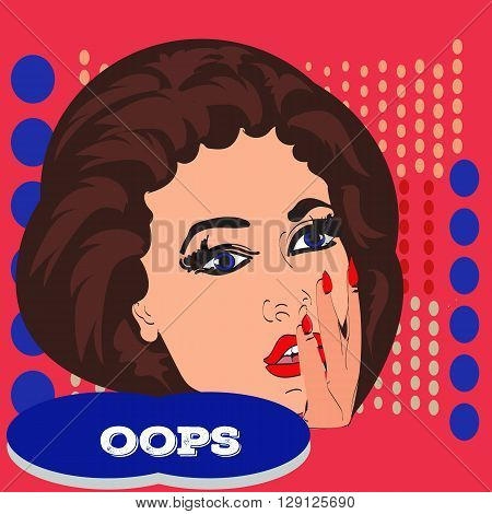 Pop art surprised pretty woman face with open mouth. Woman with speech bubble. Vector illustration.