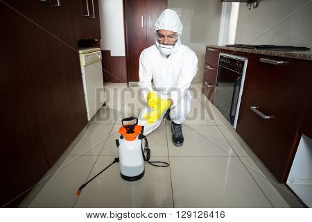 Worker wearing protective gloves while kneeling in kitchen
