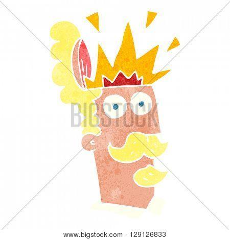 freehand retro cartoon man with exploding head