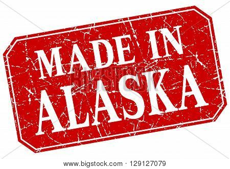 made in Alaska red square grunge stamp