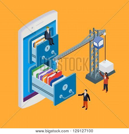 Mobile Storage Flat 3D Isometric Business Technology Server Concept