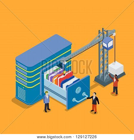 Database Storage Flat 3D Isometric Business Technology Server Concept