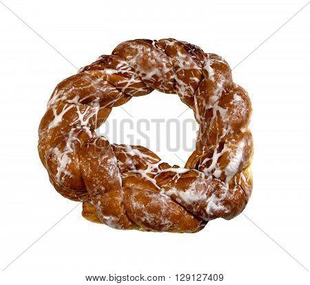 Freshly baked Hazelnut cake on a white background