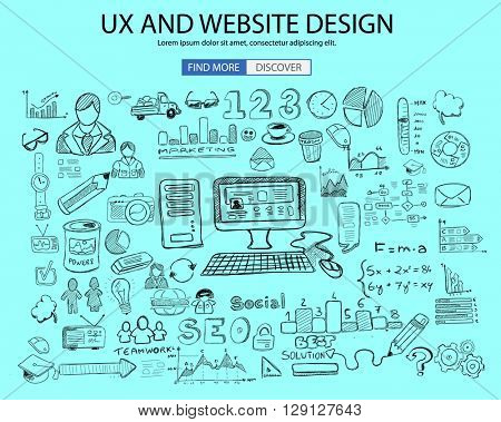 UX Website Design  concept with Doodle design style: online solution, social media campain, creative ideas,Modern style illustration for web banners, brochure and flyers.