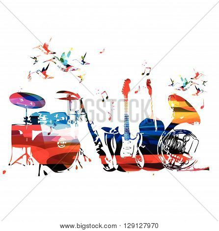 Colorful music instruments background with hummingbirds. Vector