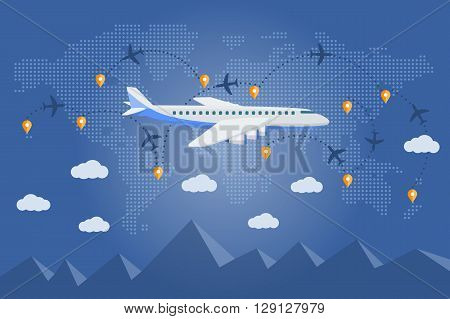Flat Vector Web Banner On The Theme Of Travel By Airplane, Vacation, Adventure