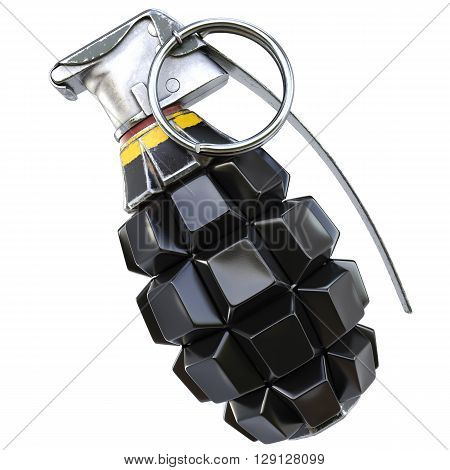Keyboard grenade concept. Isolated on white background. 3D illustration.