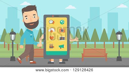 Man walking with smartphone.