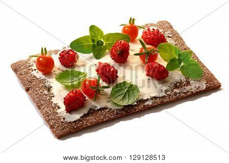 Bread Crisp With Fresh Strawberries, Soft Cheese And Mint