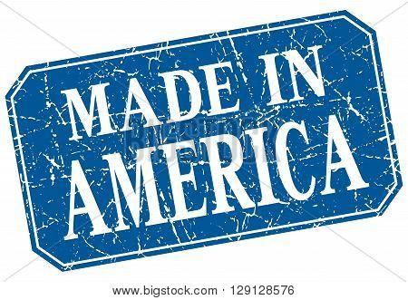 made in America blue square grunge stamp