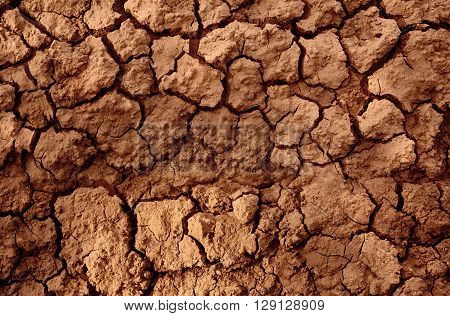 Drought land represent in cracked soil mud because of global warming and long hot dry season without rain. Can be used as background or texture.