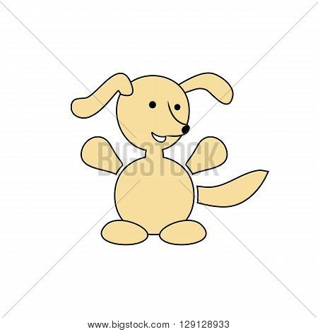 Cartoon happy dog vector illustration isolated on the white background.