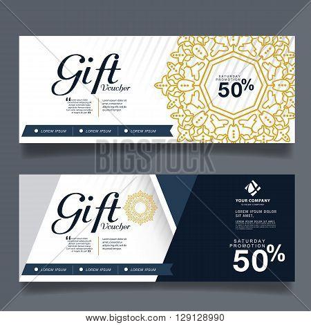 Gift Voucher Premier Color, Vector illustration,Gift voucher template with vintage pattern.