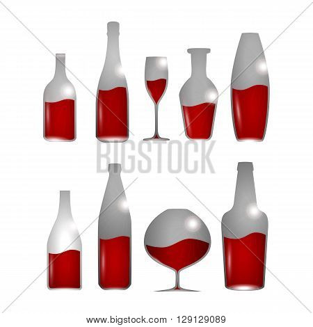 Alcohol drinks set with bottles and glases